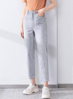 High Waisted Strechy Harem Jeans