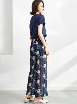 Casual Pullover Print Chiffon Palazzo Pant Suits