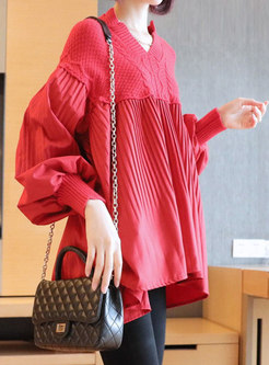 V-neck Pullover Knit Patchwork Plus Size Tunic