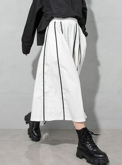 White High Waisted A Line Long Skirt