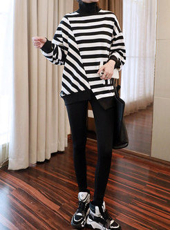 Turtleneck Striped Loose Asymmetric T-shirt