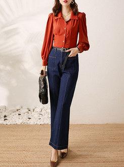 Stylish Lantern Sleeve Blouse & Bell Bottom Jeans