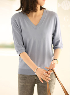Solid V-neck Half Sleeve Pullover T-shirt