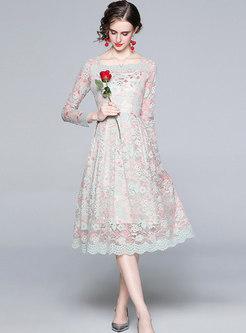 Square Neck Openwork A Line Midi Lace Dress