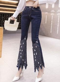 Blue High Waisted Fringe Bell Bottom Jeans