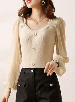 Lantern Sleeve Patchwork Pullover Knit Top