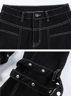 Black High Waisted Ribbon Bell Bottom Jeans