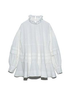 Mock Neck Ruffle Long Sleeve Ruched Tunic