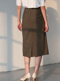 High Waisted Straight Midi Skirt