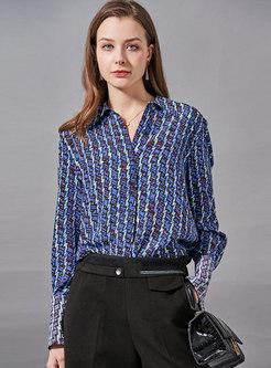 Blue Turn-down Collar Print Silk Blouse