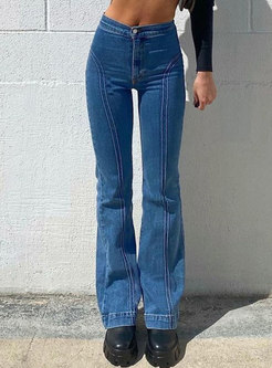 Retro High Waisted Bell Bottom Jeans