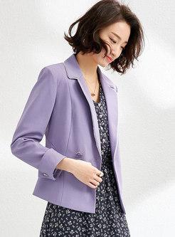 Purple Lapel Long Sleeve Slim Blazer
