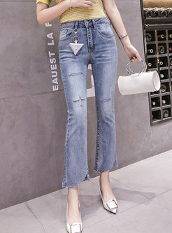 High Waisted Ripped Asymmetric Bell Bottom Jeans