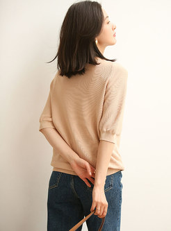Solid Half Sleeve Pullover Knit Top