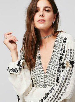Boho Flare Sleeve Ruffle Embroidered Blouse