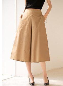 High Waisted A Line Big Hem Maxi Skirt