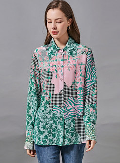Turn-down Collar Print Silk Blouse