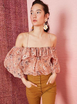 Off-the-shoulder Print Ruffle Blouse