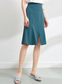 High Waisted Split Peplum Skirt