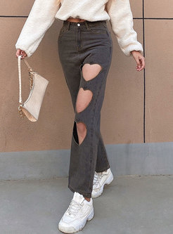 High Waisted Heart Openwork Straight Jeans