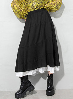 Black High Waisted Patchwork Maxi Skirt