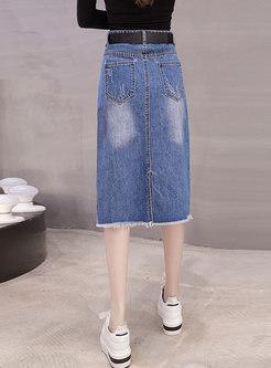 High Waisted Split Ripped Denim Skirt