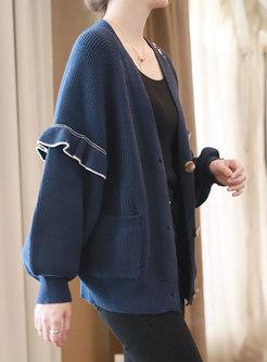 V-neck Single-breasted Ruffle Cardigan
