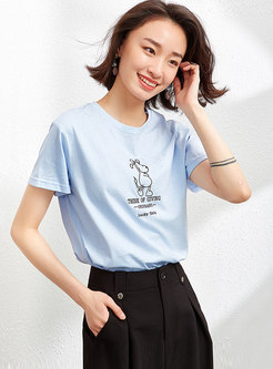 Crew Neck Animal Embellished Cotton T-shirt
