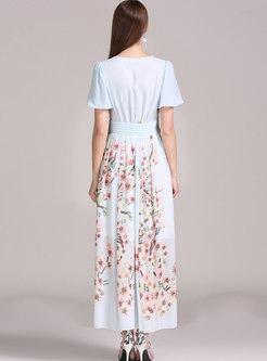 Boho V-neck Empire Waist Big Hem Maxi Dress