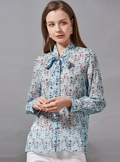 Mock Neck Ribbon Print Silk Blouse