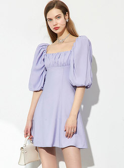 Square Neck Lantern Sleeve A Line Mini Dress