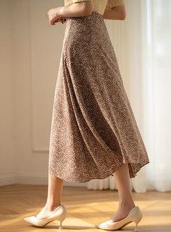 Retro High Waisted A Line Maxi Skirt