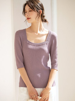 Square Neck Half Sleeve Pullover Knit Top