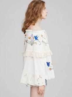 Off-the-shoulder Embroidered Fringe Blouse