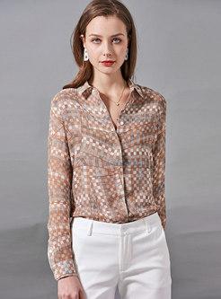Turn-down Collar Plaid Silk Blouse