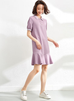 Short Sleeve Shift Ruffle Mini T-shirt Dress