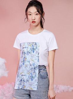 Crew Neck Print Patchwork Pullover T-shirt