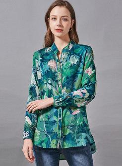 Mock Neck Long Sleeve Print Silk Blouse