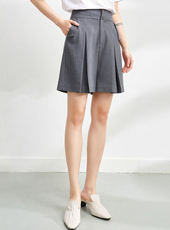 Casual High Waisted Wide Leg Pleated Hot Pants