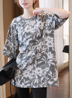 Half Sleeve Print Pullover Loose T-shirt