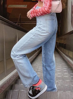 High Waisted Gradient Rough Selvedge Straight Jeans