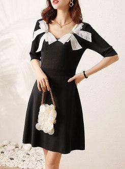 Black Square Neck Bowknot Knitted Skater Dress