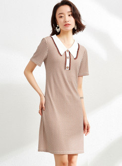 Casual Turn-down Collar Plaid T-shirt Dress