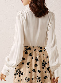 Lace Patchwork Silk V-neck Solid Blouse