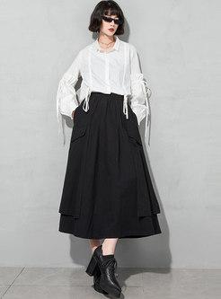 Black High Waisted A Line Maxi Skirt