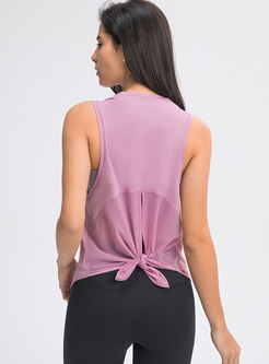 Mesh Patchwork Breathable Sleeveless Active Top