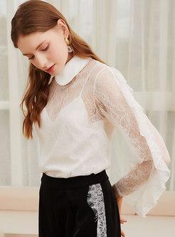 White Lace Ruffle Transparent Blouse
