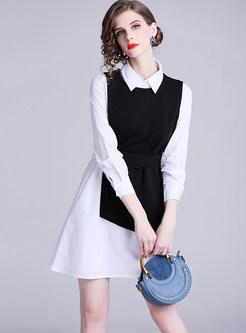 Lapel Long Sleeve Asymmetric Dress & Pullover Vest