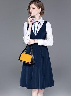 Turn-down Collar Shirt & V-neck Sleeveless Skater Dress
