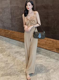 Sexy Bowknot Cami Top & High Waisted Palazzo Pants